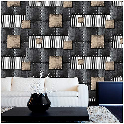 - HaokHome 360502 Modern Heavy Texture Loft Wallpaper Iron Blue/Bronze/Black/Silver for Home Accent Wall 20.8