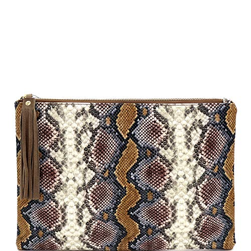 Snake Print Soft PU Leather Envelope Clutch Bag with Crossbody Chain Strap (Zip-top Oversize Tassel Clutch - Brown) ()