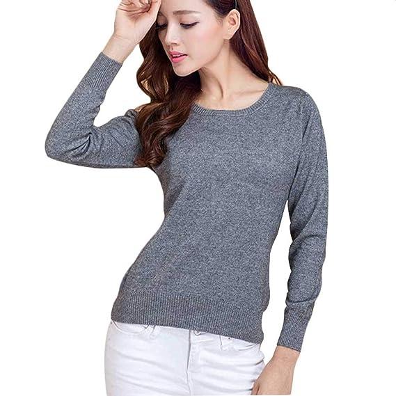 ... de Punto para Mujer, Color sólido, suéter Base, suéter Redondo, Cuello Redondo, Primavera y otoño Camisetas de Mujer: Amazon.es: Ropa y accesorios