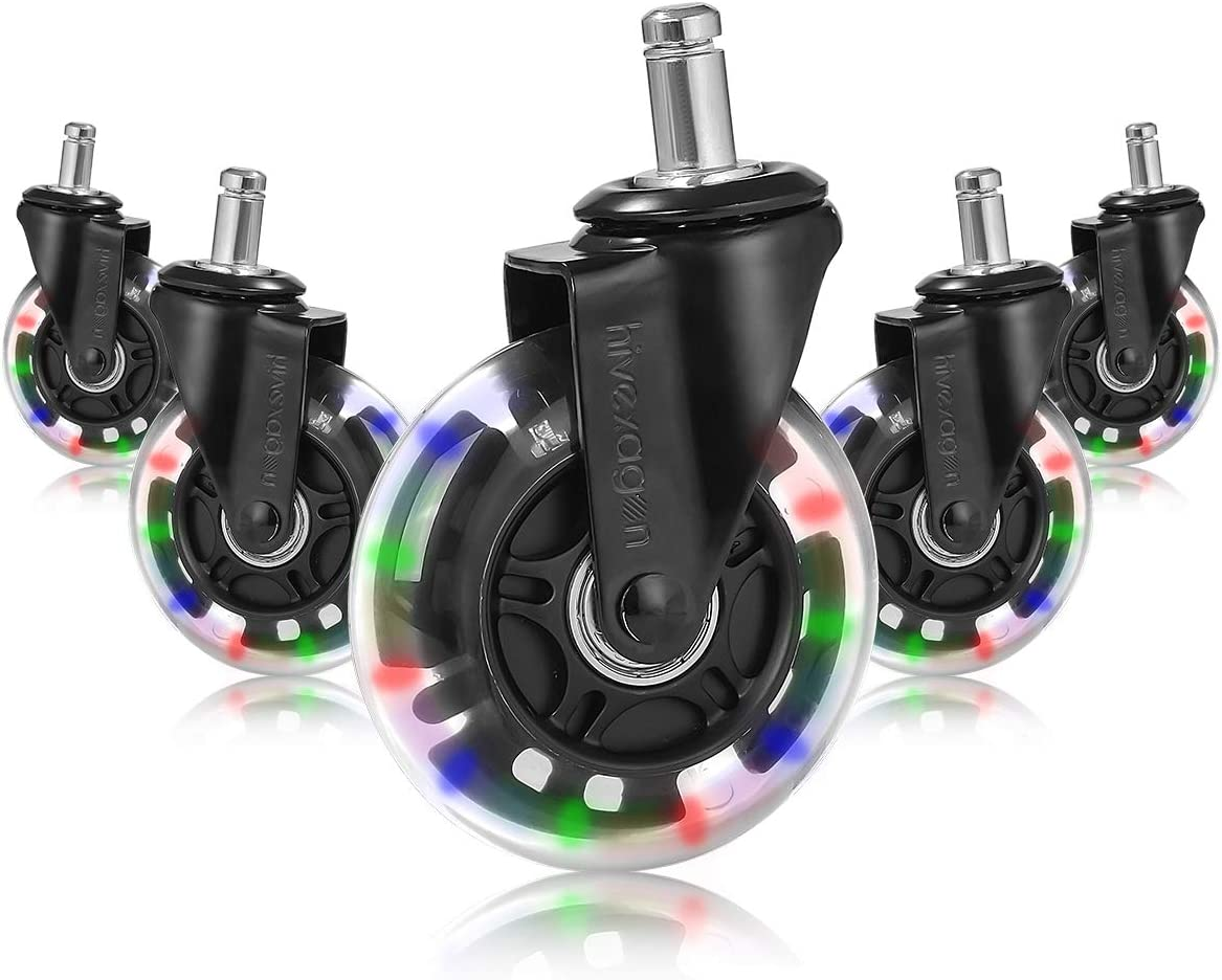 """Office Chair Caster Set of 5 Rubber 3"""" Replacement Caster Wheels, Heavy Duty Universal Quiet Rolling, Safe for Hardwood Floors, Tiles and Carpet HG478"""