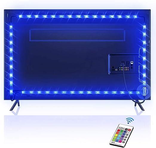 Tira LED 2.2M, OMERIL Tiras LED TV USB Impermeable con Control Remoto, Tira Luz LED