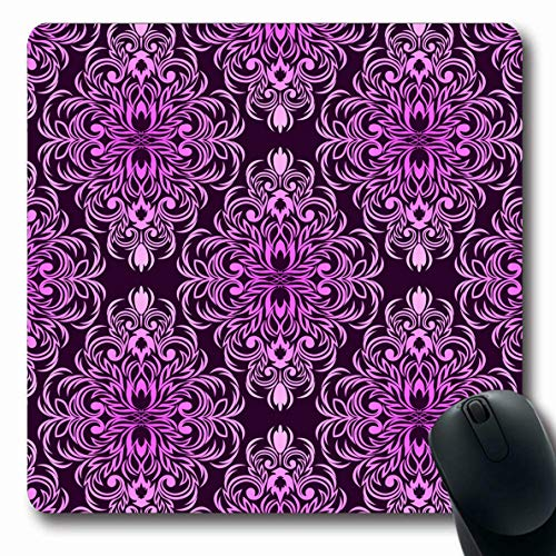 LifeCO Mouse Pad Wealthy Purple Classy Damask Floral Pink Colors Style Continuous Fashioned Flourish Geometric Design Oblong Shape 7.9 x 9.5 Inches Mousepad for Notebook Computer Mat Non-Slip Rubber
