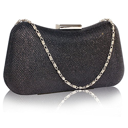 Glitter Clutch Bag Womens Evening Handbag Designer party Wedding New With Chain New Look Design 1 - Black