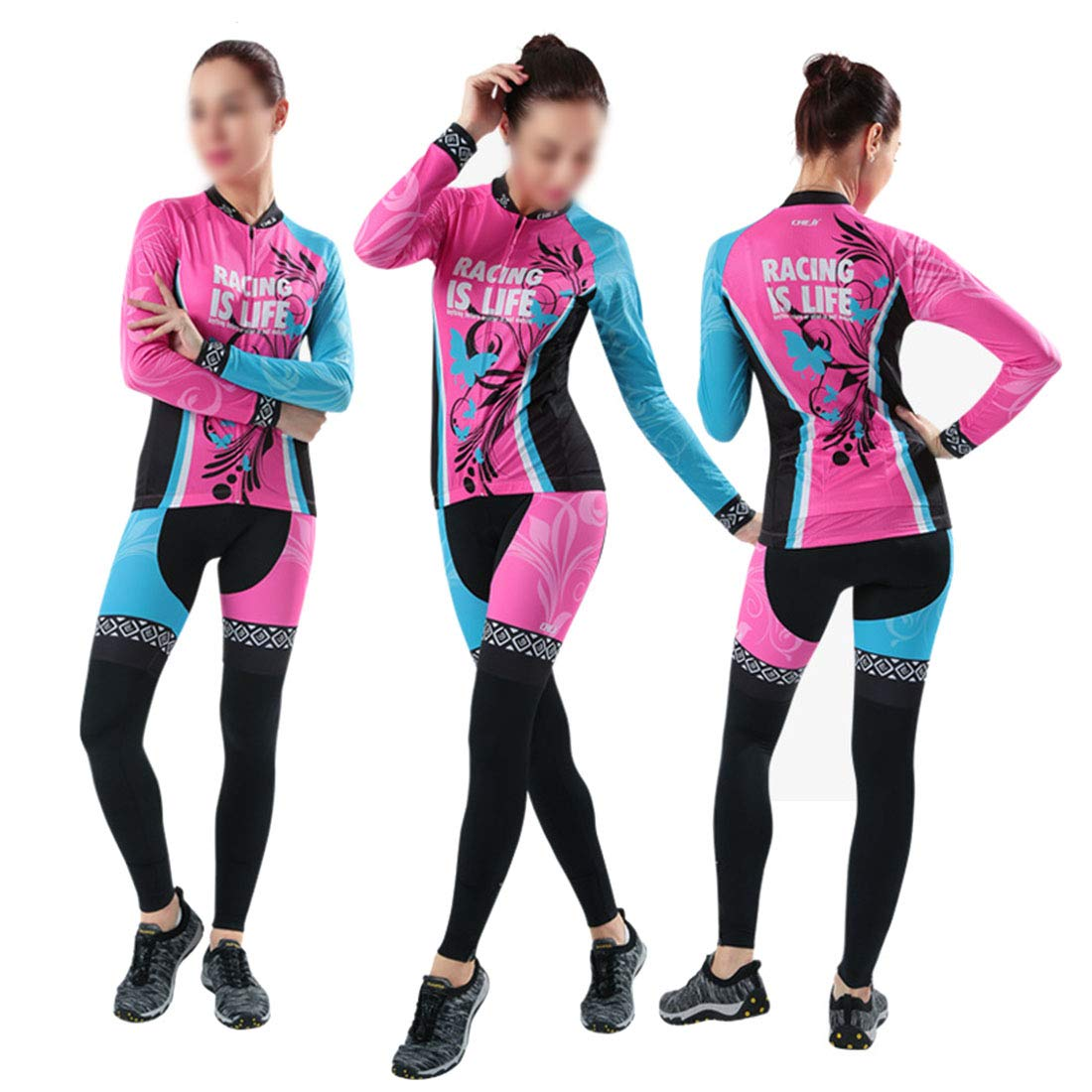 Pink Women's Cycling Clothing Set Outdoor Sport Bicycle Bike Suit Jerseys Pants