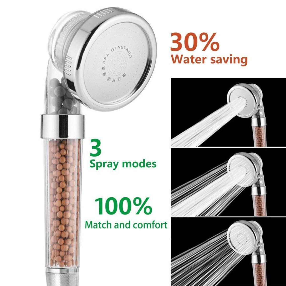 200/% Alta Presi/ón 30/% Ahorro de Agua para Ba/ños HJ Stay Real Alta Presi/ón Water Saving Alcachofa de Ducha Ionic de Mano Cabezal de Ducha de modo 3 con Iones Filtro