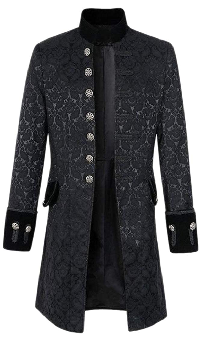 Jaycargogo Men Vingtage Victorian Gothic Steampunk Single Breasted Coats