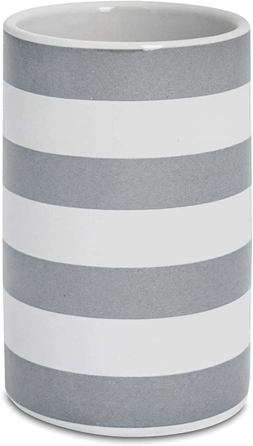 Grau Harbour Housewares Zahnputzbecher aus gl/änzender Keramik