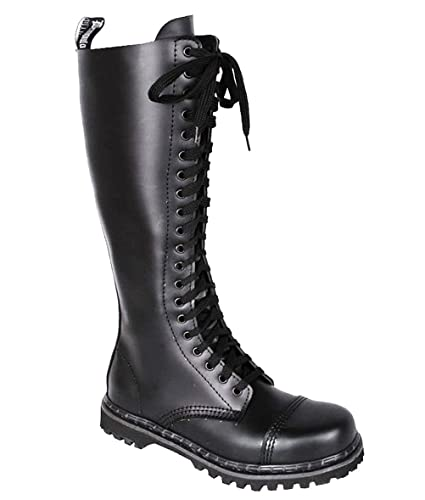 844c45d9829 Summitfashions Mens Gothic Boots Lace Up Knee High Boot Black Leather Steel  Toe MENS SIZING Size