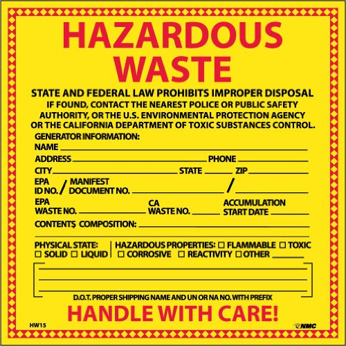 "NMC HW15 Hazardous Waste Container Label, ""HAZARDOUS WASTE CALIFORNIA"", 6"" Width x 6"" Height, Pressure Sensitive Vinyl, Red/Black on Yellow (Pack of 25)"