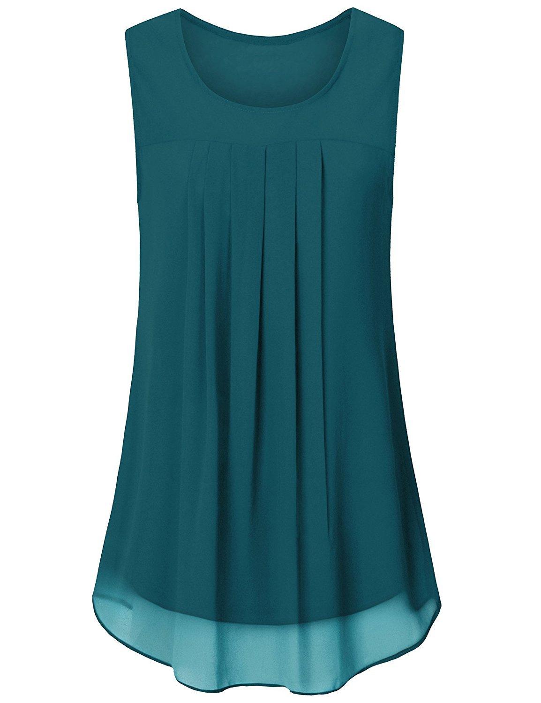 Tanst Women Summer Sleeveless Flowy Chiffon Double Layered Blouse Tunic (Medium, Green) by Tanst