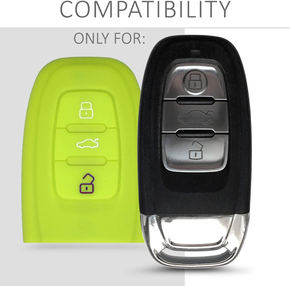 Green Silicone Protective Key Fob Cover kwmobile Car Key Cover Compatible with Audi 3 Button Car Key Keyless Go