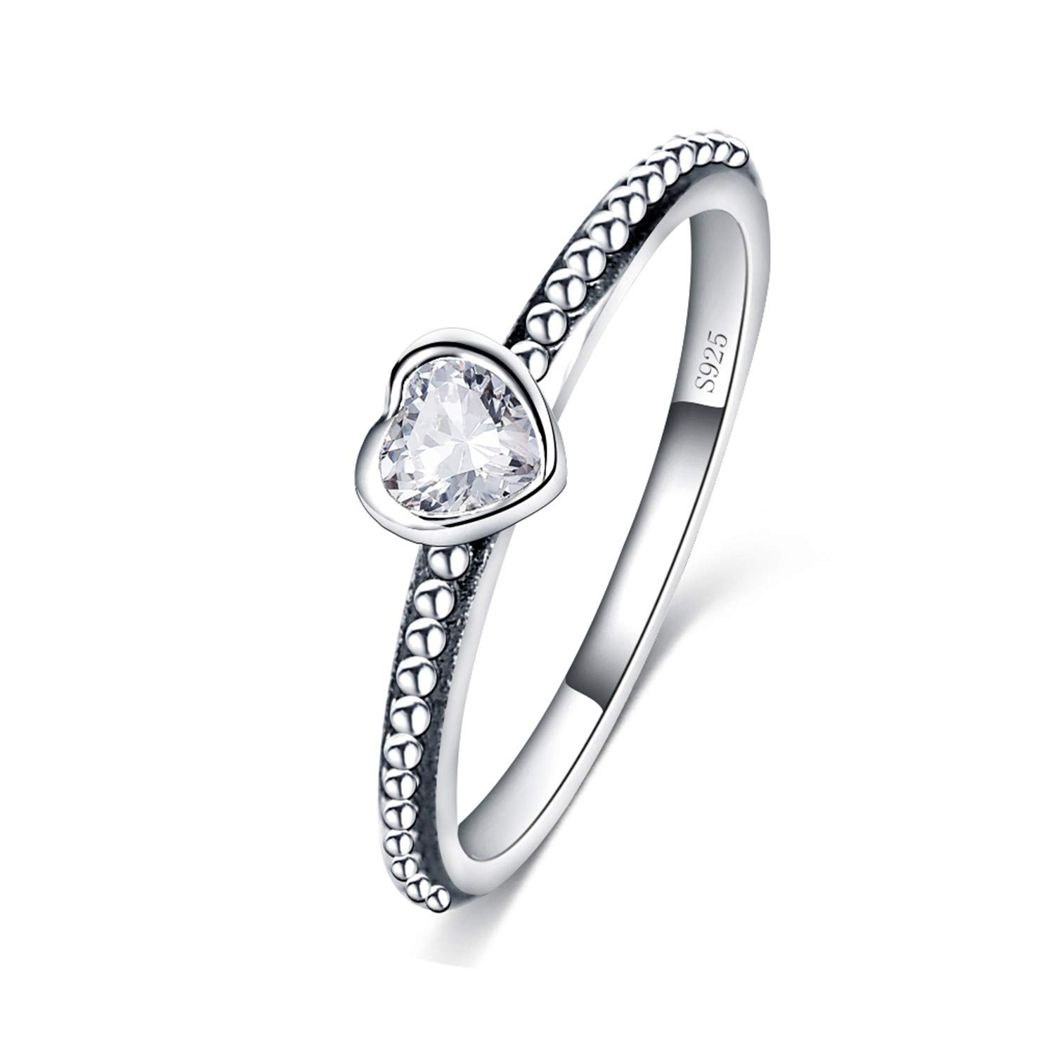 GoFly Rings New 3 Colors 100/% 925 Sterling Silver Ring Love Heart Romantic Finger Ring for Women Wedding Jewelry Bagu