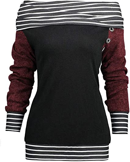 YunYoud modna damska bluza z długim rękawem w paski, patchwork, kołnierz, guzik, bluza z długim rękawem, bluza damska: Odzież