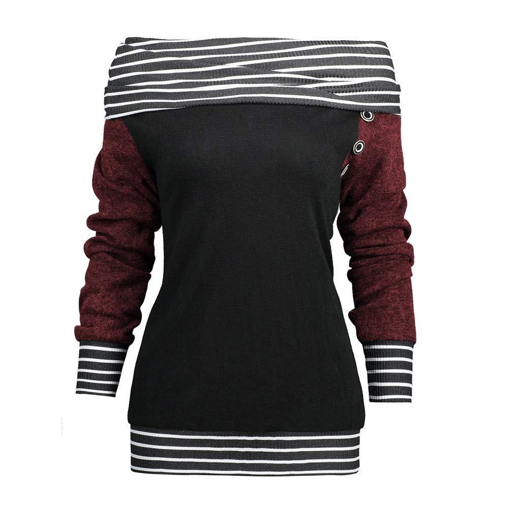 2cf716f76 ... kaifongfu Women Long Sleeve Striped Button Patchwork Sweatshirt Top  Hoodie 01 Tops Tops 809 ...