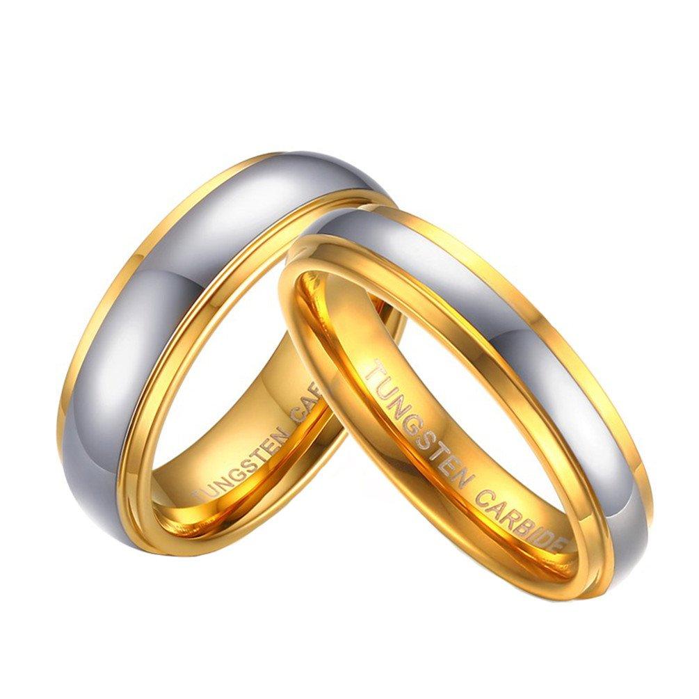 PAURO Hombres y Mujeres Parejas de Acero de Acero Inoxidable de tungsteno con Anillo de Oro para la Promesa de la Boda Anillos de la Suerte