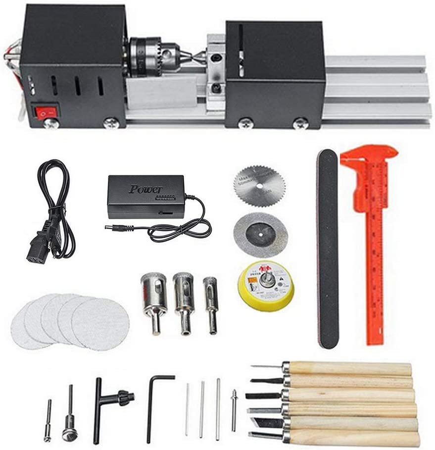 KKTECT 96W Mini Torno, Mini Bead Machine, DIY Woodworking Wood Torno Rectificado de pulido Conjunto de herramientas de taladro