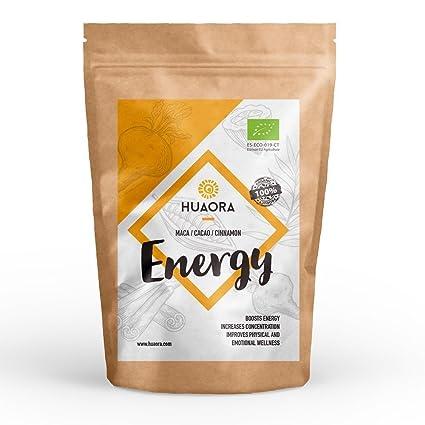 Huaora - Energy, Maca, Canela, Cacao Superalimentos Veganos Orgánicos 150gr | Alto valor nutritivo y energético | 100% Natural y Orgánico - Sin ...