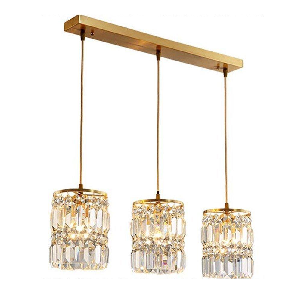 Retro Runde Kristall Pendelleuchte Vintage Einfach Hängelampe Esstischleuchte Wohnzimmer Lampe Küche Esszimmer Höheverstellbar Gold 3* E14 Ø68*H30 cm