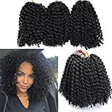 6 Packs Marlybob crochet hair afro kinky curly hair crochet braids curly wave crochet braiding hair synthetic hair extension (1B#)