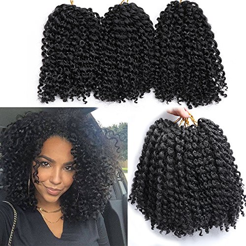 6 Packs Marlybob crochet hair afro kinky curly hair crochet braids curly wave crochet braiding hair synthetic hair extension (1B#) by wowbeautywigs