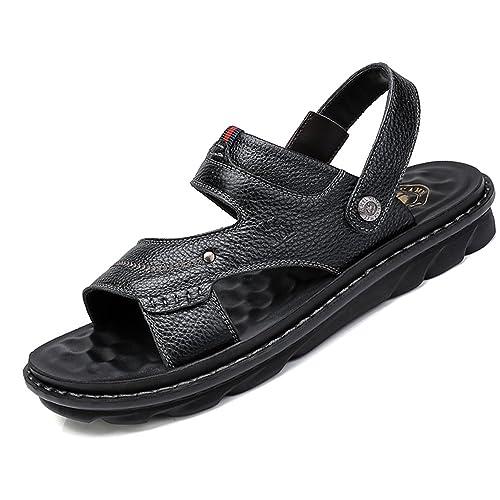 variedad de estilos de 2019 verdadero negocio tienda oficial CAMEL CROWN Hombres Sandalias de Cuero Sandalias con Puntera Abierta  Sandalias de Negocios Casual Zapatillas Blancas de Playa de Verano  Zapatillas ...