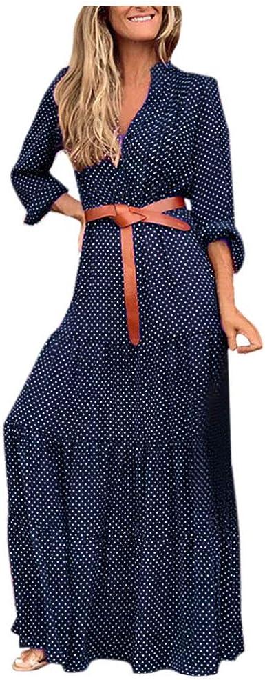 Robe Longue Femme Boheme Plage Robe Chic Retro Short Manches