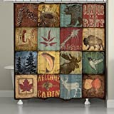 Laural Home Lodge Patch Shower Curtain, 71'' x 74'', Brown