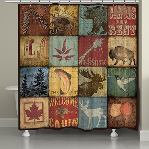 Laural Home Lodge Patch Shower Curtain, 71