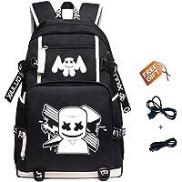Deumy DJ Marshmello Luminous Mochilas, Schoolbag Mochila de Moda con Puerto de Carga USB Mochila Casual Unisex para portátil Bolsa para Backpack (Negro)