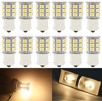 Lampadina luce calda 27 LED SMD5050 12Vcc 1156 1141 1073 BA15S camper auto barca