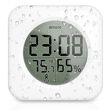 De Haute Qualite Horloge Pour Salle De Bain Avec Ecran LCD Digital Horloge Murale Ventouse  Etache