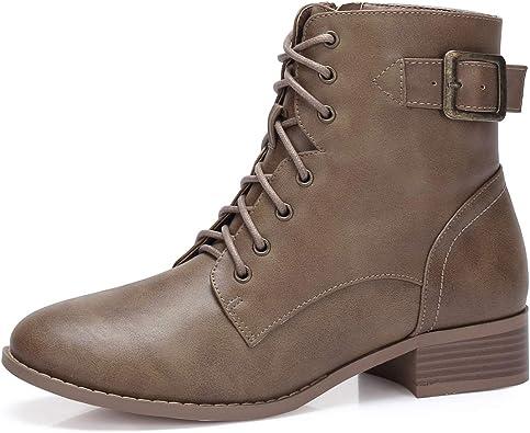 CAMEL CROWN Combat Boots Femme Lacets Zip Latérale Boucle Militaires Vintage Bottes Imperméable Léger Respirantes Outdoor Casual Noir Marron Kaki