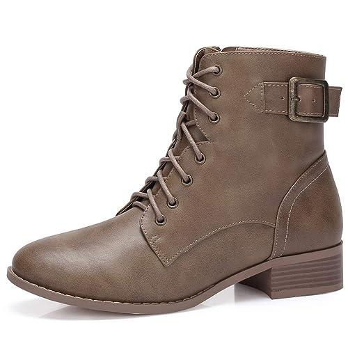 CAMEL CROWN Botines Mujer Combat Boots Buckle STRP Zip Botas Antideslizante Cómodo para Casual Diario Compras Negro Marrón Caqui EU37-42: Amazon.es: Zapatos ...