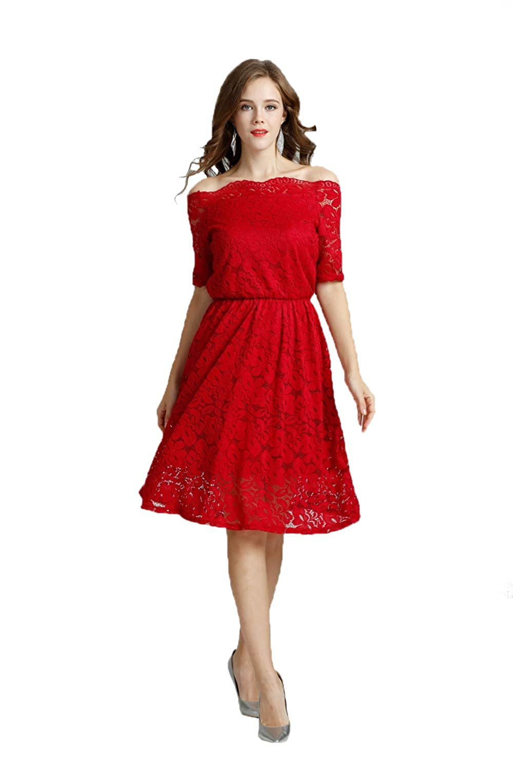 Amazon.com  Women s Vintage Floral Lace Formal Dresses for Any Plus Size  Women Boat Neck Swing Cocktail Dress for Wedding (L 034666535