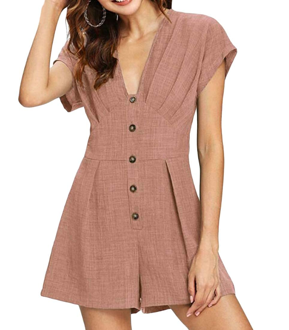 Joe Wenko Womens Short Rompers Button Down V Neck Short Sleeve Casual Jumpsuit