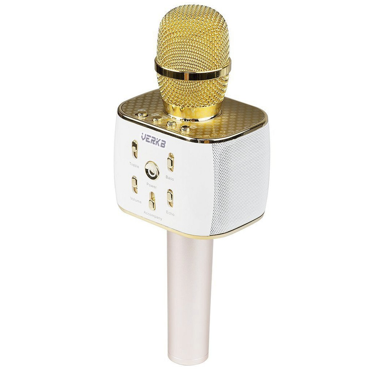 [Upgraded] VERKB Wireless Karaoke Microphone with Speaker Pro, Easter Gift Idea for Kids, 3-in-1 Portable Bluetooth KTV Karaoke Machine for Apple Android Smartphone or Pc (Light Gold) VBBT004ALG
