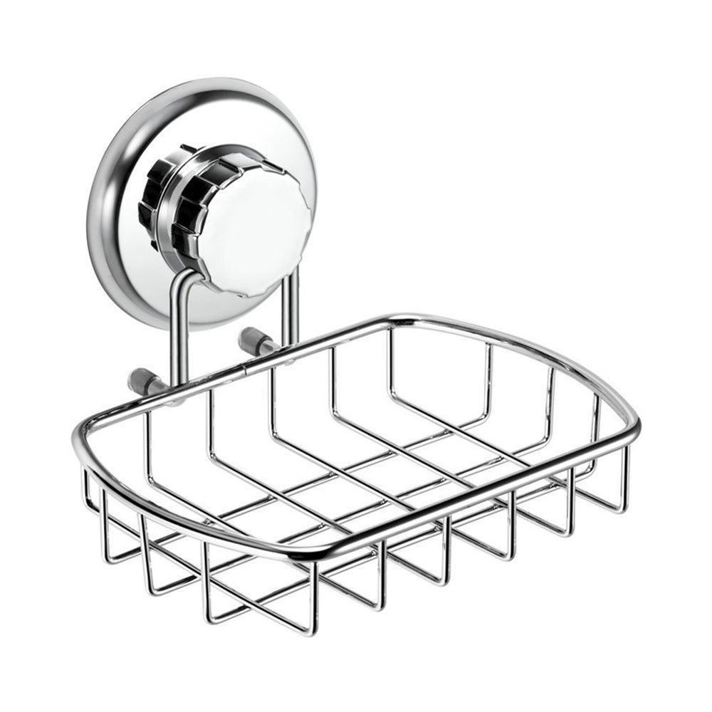HASKO accessories - Super Powerful Vacuum Suction Cup Soap Dish - Strong Stainless Steel Sponge Holder for Bathroom & Kitchen (Chrome) SYNCHKG080460