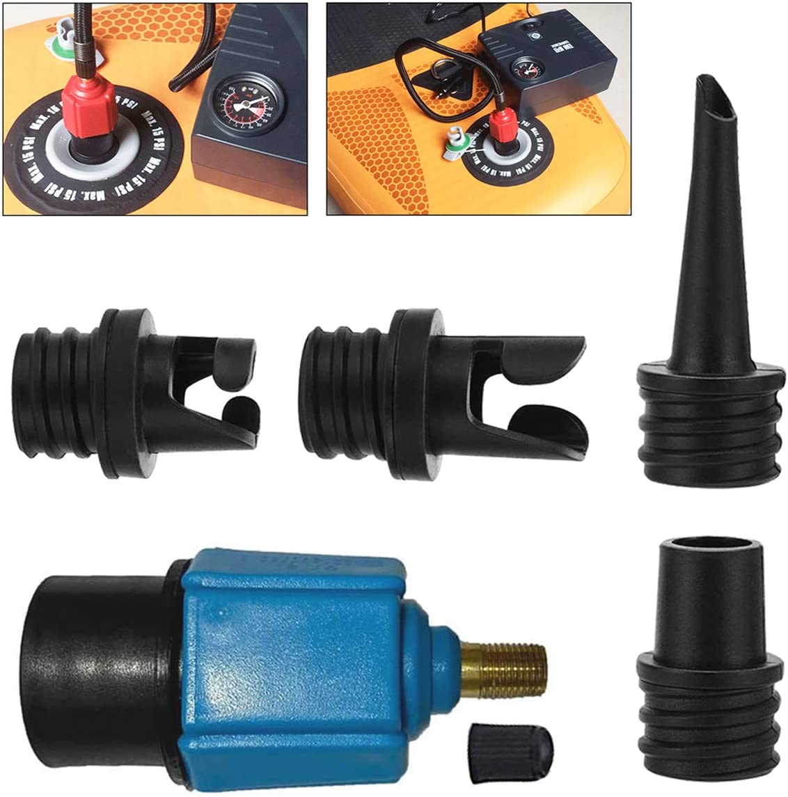 scarDS Inflatable SUP Pump Adaptor, Air Pump Converter with 4 Types Air Valve Nozzles, Multifunction Conversion Head for Kayaking, Dinghy,Inflatable Boat,Inflatable Bed,Paddle Board,Swimming Ring