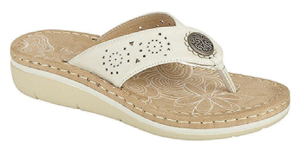 de126957a6d Boulevard Dina Punched Toe Post Padded Summer Mule Sandals - White PU,  Ladies UK 6 / EU 39: Amazon.co.uk: Shoes & Bags
