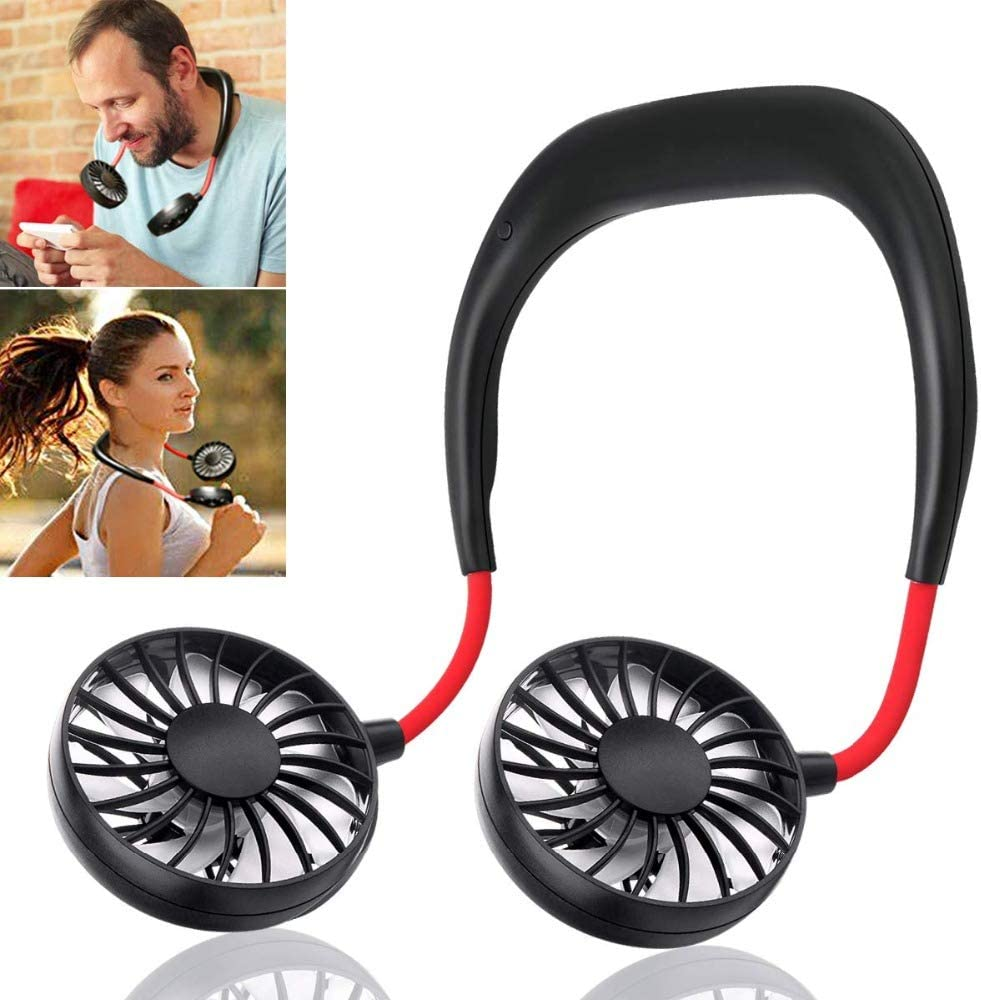 Portable Rechargeable Neckband Neck Hanging Dual Cooling  Fan Personal LED US