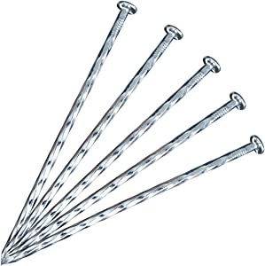 "50 Pack - 6.3""Solid Galvanized Non-Rust Metal Garden Stakes, Spiral Landscape Edging Spikes / Anchors, for Paver Edging, Weed Barriers, Turf, House Construction, Carpentry Nail, Tent, Garden Plants"