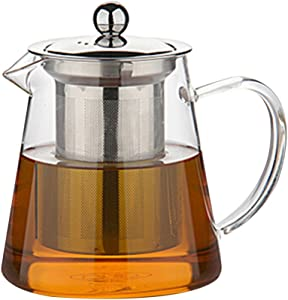 Zhhlinyuan Premium Glass Teapot, Loose Tea Leaf Infuser Glass Stainless Steel Infusion Tea Pot 400ml