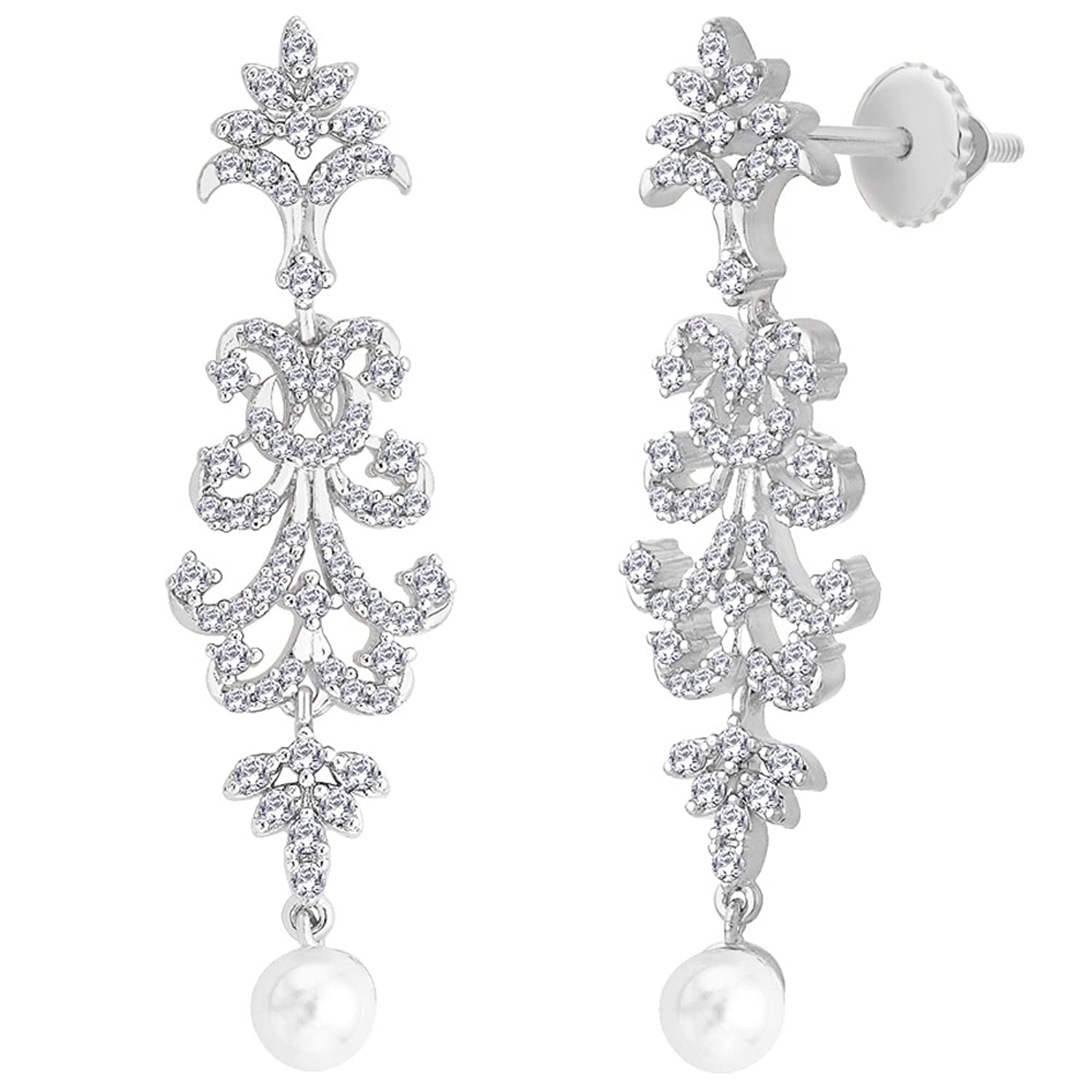 Viyari Crown Jewel Cubic Zirconia Dangle Drop Earrings with Charm Stud
