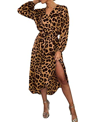 aa9dd99e7ee0 BYSBZD Womens Casual Chiffon Leopard Belted Tunic Waist Cocktail Party Dress  Brown S