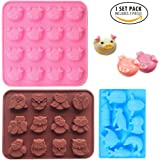 Food Grade Silicone Animal Silicone Mold, IHUIXINHE Piggy Owl Dolphin Ice Cube, Chocolate, Candy, Jelly, Biscuits, Cupcake Baking Mold, Muffin Pan, 3 Pack Set (Animal)