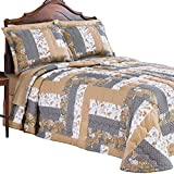 Collections Etc Patchwork Caledonia Grey Bedspread, Grey, King