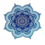 NANDNANDINI- 100% Cotton Large Round Lotus Flower Mandala Light Weight Tapestry - Outdoor Beach Roundie - Hippie Gypsy Boho Throw Towel Tablecloth Hanging Ocean Blue Turquoise Huge 78''