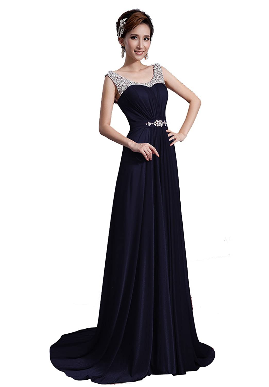 9eafe29a58f Amazon.com  DLFASHION Scoop Neck Sweep Train Beaded Chiffon Prom Dress   Clothing
