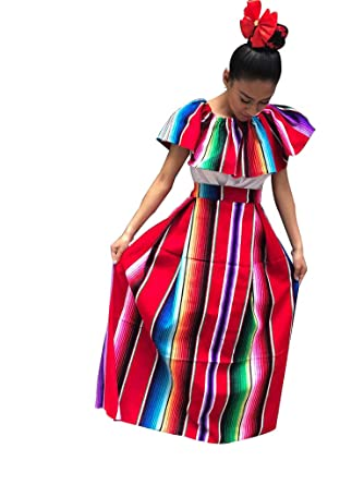 Zarape Vestido de Mujer Mexicana, Talla única, 2 Piezas, Vestido ...