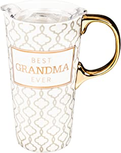 Cypress Home Beautiful Best Grandma Ever Ceramic Travel Cup with Tritan Lid and Matching Box - 4 x 5 x 7 Inches Indoor/Outdoor home goods For Kitchens, Parties and Homes
